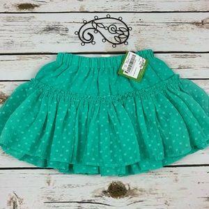 Kate Spade 4T Girls Skirt Green Polka Dot Layered